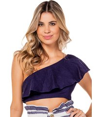 blusa cropped flee! top cropped azul - kanui