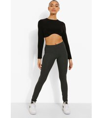 geribbelde basic leggings, charcoal