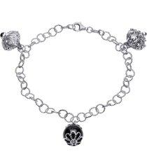 bracciale in argento rodiato multiciondolo con pietre nere per donna
