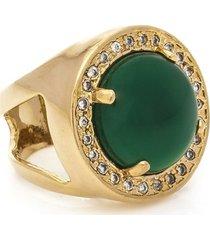anel banhado a ouro de jade e zirconias