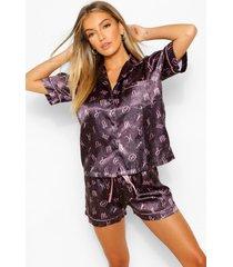 satijnen horoscoop print kort pyjama setje, navy