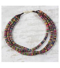 recycled plastic and glass beaded necklace, 'gathering of colors' (ghana)