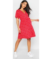 maternity ditsy floral wrap dress, red