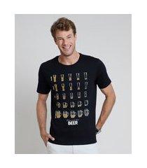 "camiseta masculina beer"" manga curta gola careca preta"""