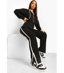 contrasterend gestreepte sweatstof jumpsuit met capuchon, black