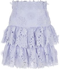 zimmermann floral laced skirt