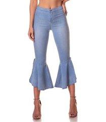 calça jeans denim zero super flare média clara feminina