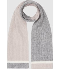 reiss wess - wool colour block scarf in grey, mens
