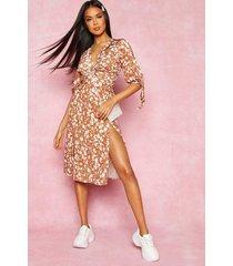 recycled floral print twist front midi dress, tan