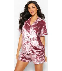 crushed velvet button through pyjama short set, dusky pink