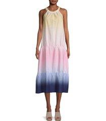 saks fifth avenue women's dip-dye tiered midi dress - dip dye - size s