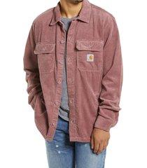 men's carhartt men's work in progress dixon corduroy shirt jacket, size small - pink