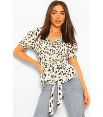 blouse met abstracte stippen en strik, multi