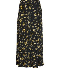 printed crepe skirt knälång kjol svart ganni
