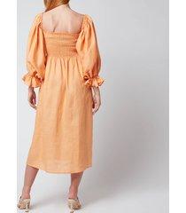 sleeper women's atlanta linen dress - coral - s