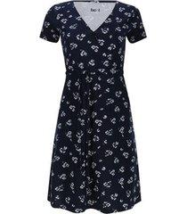 vestido m/c estampado flores color azul, talla 12