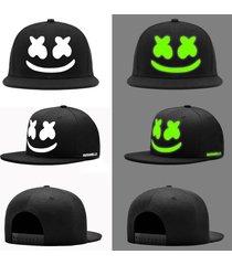 cool unisex marshmello snapback flat peaked baseball cap glow in the dark hat