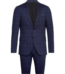 checked knitted suit kostym blå lindbergh