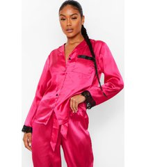 mix & match satijnen pyjama blouse met kanten zoom, hot pink