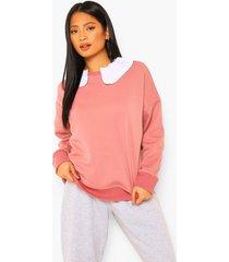 petite oversized sweater met ruches en peter pan kraag, rose