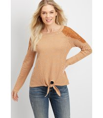 maurices womens stripe tie front ribbed top