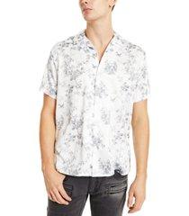 inc men's nature print camp shirt, created for macy's