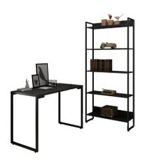 conjunto escritório mesa escrivaninha 120cm e estante 5 prateleiras estilo industrial new port f02 preto - mpozenato