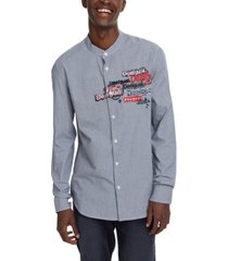 desigual men's tirso graphic woven shirt