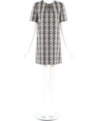yves saint laurent black gray printed wool silk shift dress black/gray/animal print sz: s