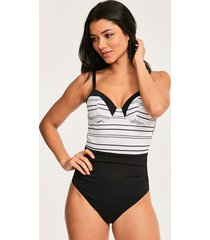 amalfi stripe underwire textured tummy control one-piece swimsuit b-g cup