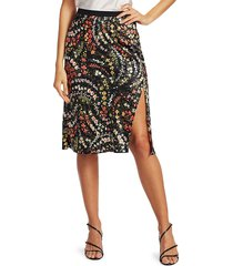 atm anthony thomas melillo women's silk floral a-line skirt - black multi - size xs