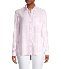 beach lunch lounge women's alanna printed high-low shirt - pink - size s