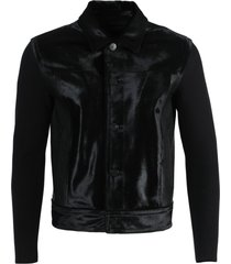 black leather and wool jacket