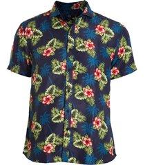 camisa areia branca slim fit floral honolulu estampada azul