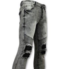 new stone grijze heren spijkerbroek biker jeans