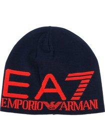 ea7 emporio armani intarsia knit logo beanie - blue