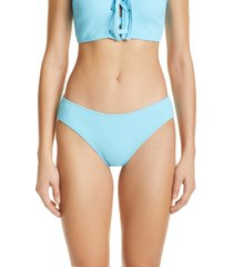 ganni rib bikini bottoms, size 6 us in bachelor blue at nordstrom