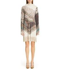 women's etro fringe trim long sleeve wool & cashmere sweater dress, size 8 us / 44 it - grey