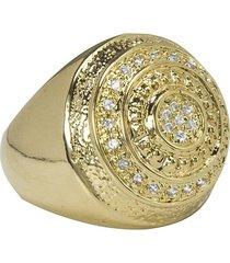 anel banhado a ouro pizza com zirconias
