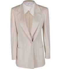 agnona beige cashmere-silk blend blazer
