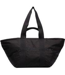 alexander wang large primal logo-embroidered tote bag - black