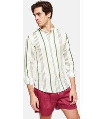 peninsula swimwear shirt la greca linen