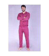 pijama longo adulto bravaa modas aberto botões manga comprida calça 208 vinho