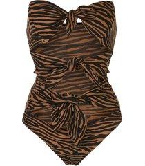 lisa marie fernandez animal print swimsuit - black