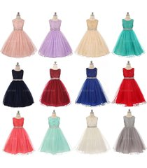 sequin bodice double layers tulle skirt rhinestones bridesmaid flower girl dress