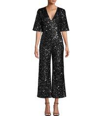 black halo women's keely sequin jumpsuit - black - size 6