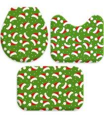 jogo tapete love decor para banheiro multi tocas natal ãšnico - verde - dafiti