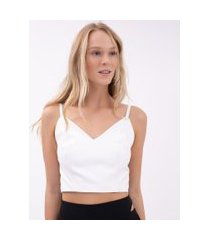 top cropped em material sintético   just be   off-white   pp
