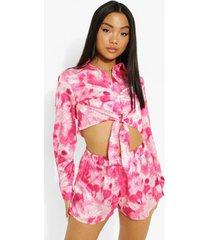 petite geweven tie dye boxer shorts, pink