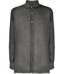 federico curradi frayed cashmere-blend shirt - grey